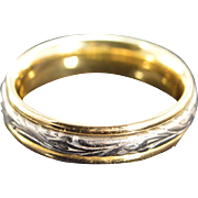 SALE 18K Fancy Engraved Spinner Busy Wedding Band Platinum Ring - Size 10 / Yellow/White Gold
