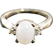 SALE 14K 0.08 CTW Diamond Cabochon Syn Moonstone Ring - Size 3 / White Gold