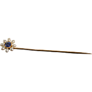 "SALE 14K Floral Motif Bezel Set Blue Spinel & Pearl Stick Pin 2.5"" Yellow Gold"