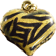 SALE 10K Tiger Striped Heart Charm/Pendant Yellow Gold