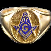 SALE 14K Blue Enamel Mason Masonic Signet Ring - Size 10 / Yellow Gold