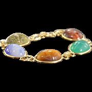 "SALE 14K Egyptian Revival Carved Scarab Beetles Bracelet 6"" Yellow Gold"