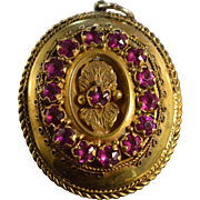 SALE Gold Filled Victorian Pink Stone Hand Made Pendant 30x42mm