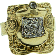 SALE 14K Antique 0.05 CTW Diamond Detailed Horse Saddle Ring - Size 3 / Yellow Gold
