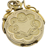 SALE Gold Filled Victorian Detailed Circle Picture Photo Locket Pendant