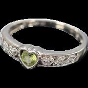 SALE 10K 0.20 CTW Peridot & Diamond Heart Milgrain Ring - Size 5.5 / White Gold