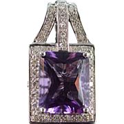 SALE 14K 3.25 CTW Amethyst Diamond Pendant White Gold