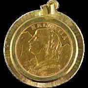 SALE 14K 1922 Swiss 20 Franc Coin Fancy Bezel Pendant Yellow Gold