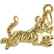 SALE 14K Stylized Tiger Charm/Pendant Yellow Gold