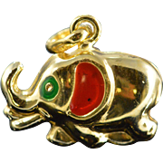SALE 14K Colored Enamel Puff Elephant Charm/Pendant Yellow Gold