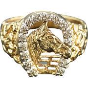 SALE 10K 0.07 CTW Diamond Horse Men's Ring - Size 10 / Yellow Gold