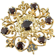 SALE 14K 2.80 CTW Red Garnet Filigree Heart Motif Pin/Brooch Yellow Gold