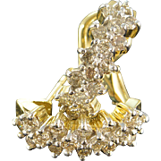 SALE 14K 1.28 CTW Cluster Diamond French Clip Earrings Yellow Gold