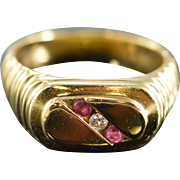 SALE 14K 0.06 CTW Ruby & Diamond Signet  Ring - Size 10 / Yellow Gold