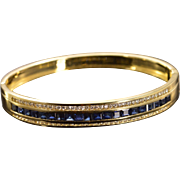 "SALE 18K 4.77 CTW Sapphire Diamond Bangle Hinged Bracelet 2.35"" Yellow Gold"