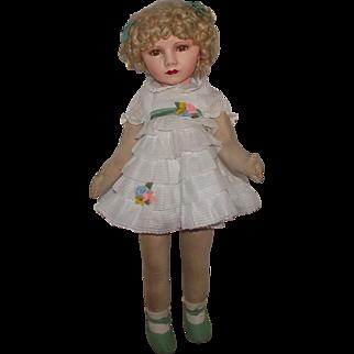 "SALE Stunning & Rare 26"" Dean's Rag Cloth Doll In Original Outfit Circa 1930's"