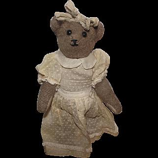 """Adorable Vintage Cabinet Size Mohair Bear 9"""" Circa 1900'"""