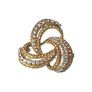 Opulent Vintage 1960's c. 18K Gold and Diamond Celtic Love Knot Brooch