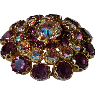 Sparkling Amethyst and Crystal Aurora Borealis Rhinestone Dome Brooch