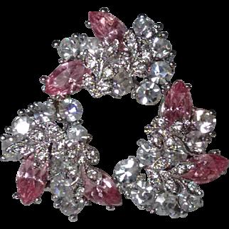 Sparkling Vintage Pink Navette and Crystal Rhinestone Wreath Brooch