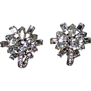 Dazzling, Vintage 1960's Eisenberg White (clear) Rhinestone Clip-on Earrings