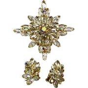 Huge Verified Demi Parure Juliana  (Delizza and Elster) Navette Rhinestone Starburst Brooch an
