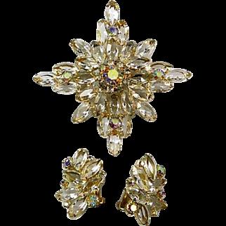 Huge Verified Demi Parure Juliana  (Delizza and Elster) Navette Rhinestone Starburst Brooch and Earrings Set