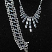 Beautiful Pale Blue Rhinestone Demi Necklace and Bracelet Set