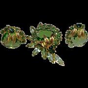 Sparkling Juliana Demi Peridot and Emerald Swarovski Crystal Earrings and Brooch Set Book Piec