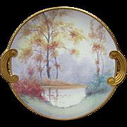"""Pickard H.P. Vellum Open Handled """"Autumn"""" Plate- signed """"Marker"""""""