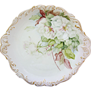 """Limoges H.P. 14 ½"""" Charger w/ White Roses & Gold Scroll Border"""