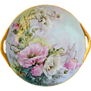 "H.P. Thomas Bavaria 10 ¾"" Plate w/Pastel Colored Poppies- signed ""Sherratt's"""