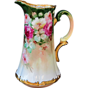 "SALE Limoges H.P. Tankard w/ Rose Cluster  by Pickard artist ""LOBA"""