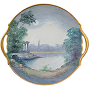 """Pickard H.P. 10 ¾"""" """"Classic Ruins By Moonlight"""" Cake Plate- signed """"HLC"""""""