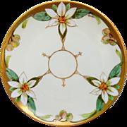 "Julius H. Brauer Studio 8 ¼"" H.P. Cake Plate w/Orange Blossoms by Pickard ..."