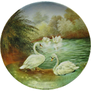 """SALE Bavaria H.P. 8 1/2"""" Scenic """"Swans  On A Lake"""" Cake Plate by ..."""