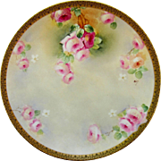 """Limoges H.P. 12 ¼"""" Pink & Red Roses Charger- signed """"Colon"""""""