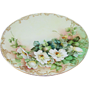 "Limoges H.P. 9"" White Wild Roses Cake Plate w/Gold Border Stencil"