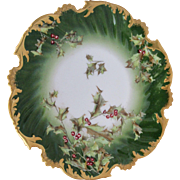 """Limoges T&V France 8"""" Holly and Berry Pattern Cake Plate"""