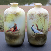 """R.S. Prussia 4 ½"""" """"Chinese Pheasant & Golden Pheasant Vases"""