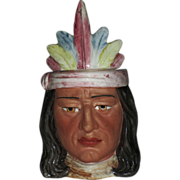 SALE Majolica Native American Figural Humidor