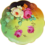 """H.P. Limoges/D'Arcy Studio 12 ½"""" Roses Charger- signed """"Henson"""""""