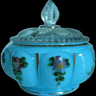 Fenton Charleton Blue Hand Painted Vanity Jar/Puff Box