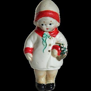 Vintage Bisque Holiday Girl Nodder ~ Made in Japan
