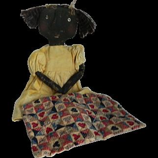 Vintage Primitive Folk Art Black Doll