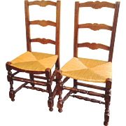 SALE Pair Antique French Ladderback Chairs with Rush Seats