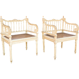 SALE Pair Louis XVI Caned Arm Chairs 19th Century
