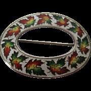 Antique Enamel & Sterling Silver Souvenir Maple Leaf Brooch/Sash Pin, 1904