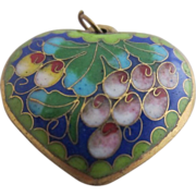 SALE Beautiful Double-sided Enamel Heart Pendant with Flowers & Grapes
