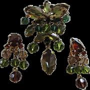 SALE Fabulous AUSTRIA Specialty Stones Dangling Brooch & Earrings